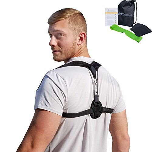 Carxelli Posture Corrector - Large/X-Large size - for Women & Men - Adjustable Back & Shoulders Support Brace to Improve Posture - Included Extra Padding - Workout Band & Carrying Bag by Carxelli
