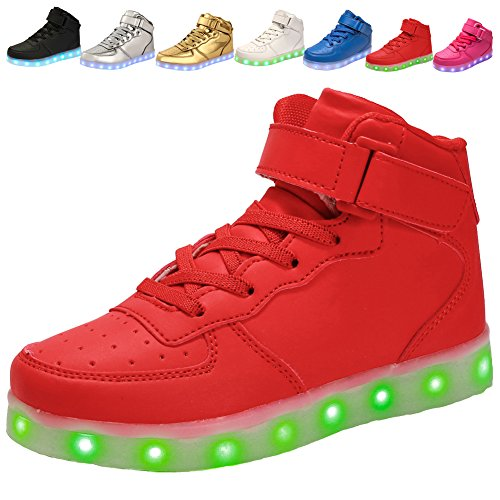 Price comparison product image adituo Kids Girls and Boys High Top USB Charging LED Shoes Flashing Sneakers(Toddler / Little Kid / Big Kid) red31