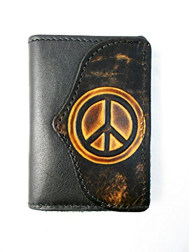 (Hilltop Leather Company Mens Handcrafted Leather Trifold Wallet Peace)