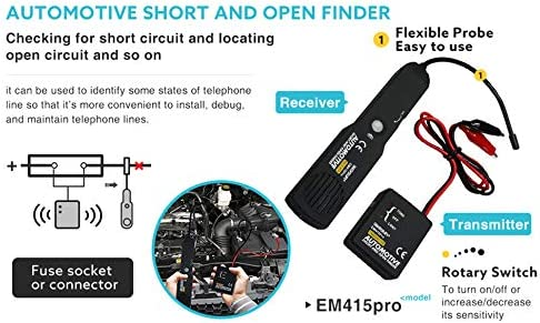 Automotive Short Open Repair Tester Tool,EM415PRO Automotive Cable Wire Tracker Short & Open Finder Tester Repair Tool Tester Car Tracer Diagnose Tone Line Finder DC 6-42V    HOW TO USE THE PROBE? The probe of the Receiver is built of coiled steel and may be bent as needed, in order to reach wires in congested or difficult areas. Depending on the circuit characteristic and sensitivity settings, the probe will pick up the signal from the wire in a range of positions. However, for the best possible range the Receiver's probe tip (black cap) should be positioned perpendicular to the wire being traced and either above or below it.