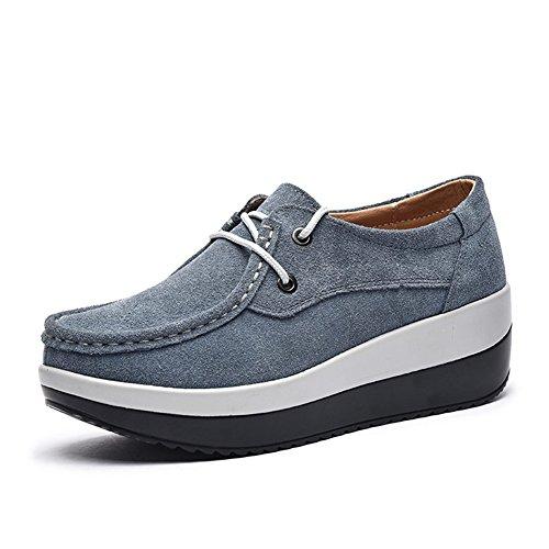 de Zapatos Gris Color Mujer Primavera Zapatos Sacudida de batir Zapatos Suela Ocio de de 40 Otoño de de Zapatos Pendiente Azul Gruesa Zapatos Mujer Zapatos tamaño de Cordones Mujer fwq0R