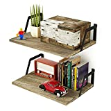 Cheap RooLee Floating Shelves Wall Mounted Set of 2 Rustic Wood Shelves Large Capacity(torched Finish)