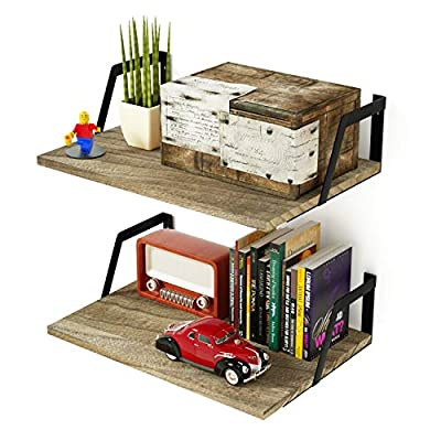 SRIWATANA Floating Shelves Wall Mounted Set of 2 Rustic Wood Shelves with Large Capacity(Carbonized Black) - EXCELLENT SHELVING SOLUTION - The floating shelves help you reduce clutter in a small space by organizing your books, family pictures, small plants or other trinkets with the shelves.【Books, plants and other decorative items NOT included.】 FUNCTIONAL WALL SHELVES - Versatile wood shelves allow you to exhibit photos or plants in the living room, hold beauty products in the bathroom , or hold spices and jars in the kitchen. RUSTIC FLOATING SHELVES - The 2-set wall shelves will add a retro style to your home decor thanks to the torched wood and and industrial metal brackets. - wall-shelves, living-room-furniture, living-room - 51udyMnwMRL. SS400  -
