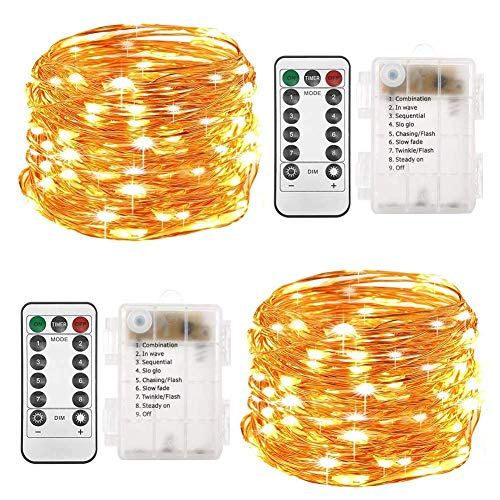 Twinkle Star 2 Set Christmas Fairy Lights Battery Operated, 33ft 100 Led String Lights Remote Control Timer Twinkle String Lights 8 Modes Firefly Lights for Garden Party Indoor Decor, Warm White