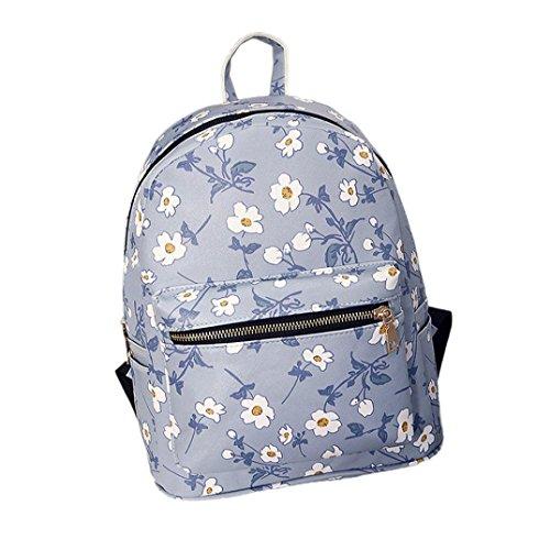 Clode® Mujeres chicas Casual mochila impresa florales hombros bolso mochila Azul