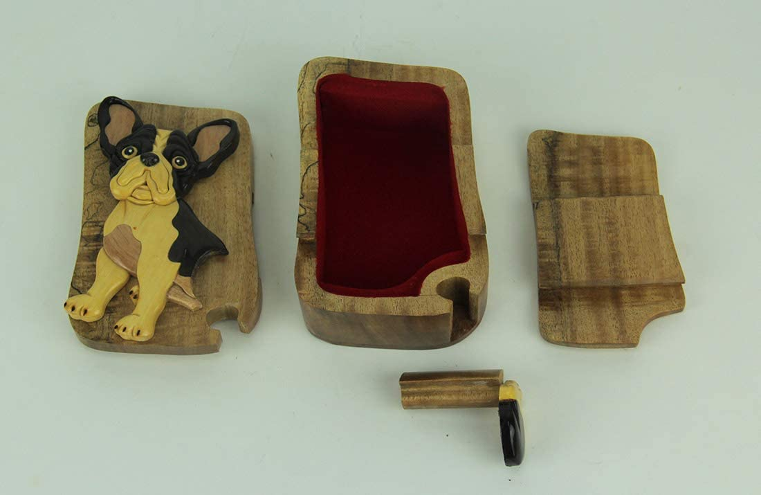 Hand Carved Wood 3D Boston Terrier Puzzle Trinket Box