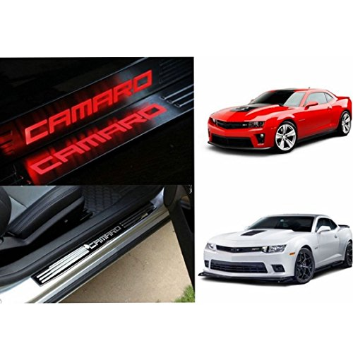 Highitem LED Light Illuminated Door Sill Scuff Plate Cover for GM Chevy Chevrolet Camaro 2010-2016 (Red Color LED)