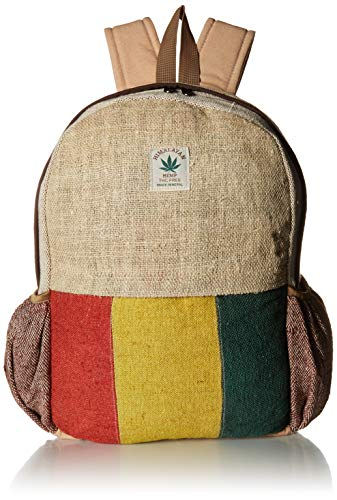 (Nepali Handmade Pure Hemp Rasta Backpack with Laptop Sleeve - Fashion Cute Travel School College Shoulder Bag / Bookbags / Daypack)