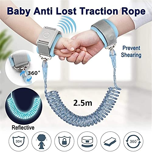 """51udz15UJbS Baby Anti Lost Wrist Link Safety Harness Strap Rope Leash for Toddlers,Child Anti-Lost Wrist Leash Walking Belt with Induction Lock,Anti Lost Wrist Link Toddler Leash Safety Harness,Length 2M (Blue)    Kribee & Refosian Refugee Child Safety Wrist Harness Is The Ultimate Peace - Of Mind Product For Parents And Guardians Of Small Children. It Remarkably Prevents Tots From Running Away And Getting Lost. Fosters Confidence And Independence In Your Little Ones By Letting Them Explore """"just A Little Further"""" While Keeping Them Safely Close To Your Side."""