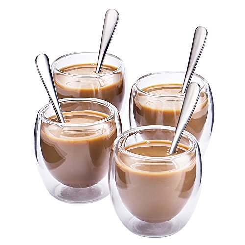 Hiware Espresso Glasses Spoons 2 Ounce
