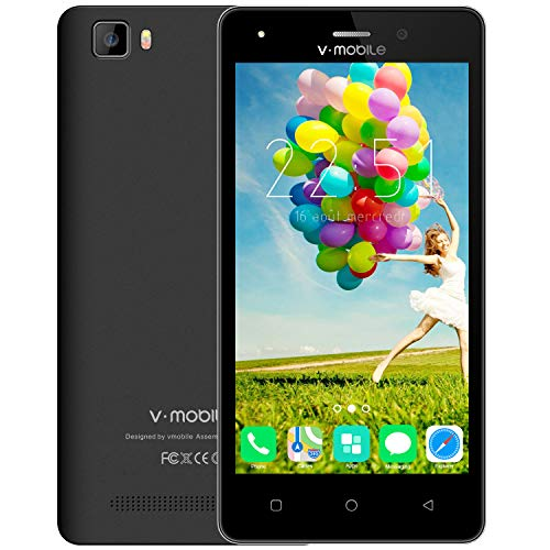 Cheap Cell Phones Unlocked, v Mobile A10-N Android Smartphone, Dual Sim Mobile Phone with 5.0 inch Screen|Camera 2.0 MP + 5.0 MP|1GB+8GB|Best Choice as a Gift for Seniors, Students| Black