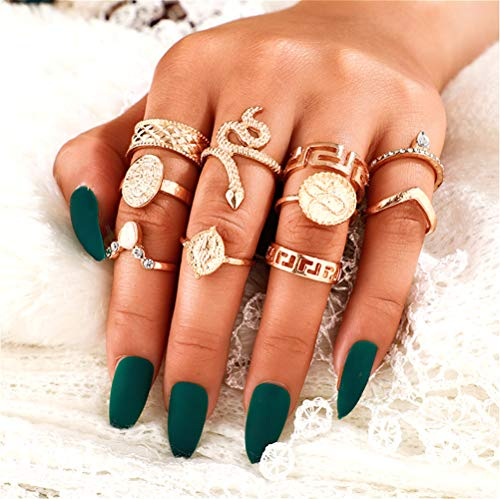 Sither 6 Pcs Gold Knuckle Rings Set for Women Snake Stacking Rings Bohemian Rings for Teen Girls Vintage Joint Knot Ring…