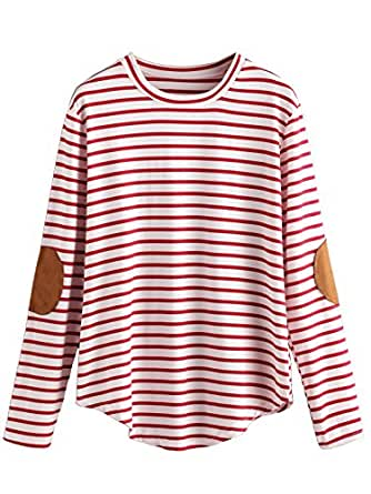 Milumia Women's Elbow Patch Striped High Low Top T-shirt (Small, Red)