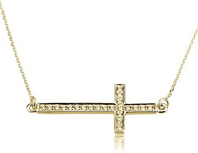Sterling Silver Sideway Cross Pendant Necklace Gold Plated