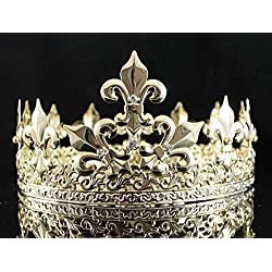 Janefashions Full King's Metal Crown Austrian Rhinestone Crystal Fleur-de-lis T1876g Gold