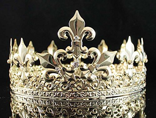 Janefashions Men's Full Round Circle King Metal Hair Jewelry Crown Austrian Rhinestone Crystal Fleur-de-lis Theater Medieval Times T1876g -