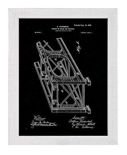 - Girder or Beam for Bridges Patent Art Black Matte Print in a Distressed White Wood Frame (18