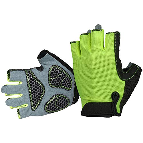 OZERO Cycling Gloves for Men and Women Half Finger & Shock Absorption Green Medium