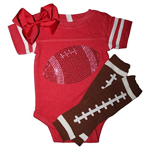 FanGarb Rhinestone Infant Toddler Baby Girls Football red Team Color Outfit ()
