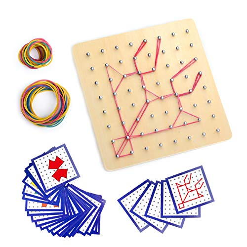 Montessori Wooden Geoboard Mathematical Manipulative Material Array Block Geo board with 24Pcs Pattern Cards and Rubber Bands Matrix 8x8 for Kids Graphical Educational Toys Early Development Toy ()