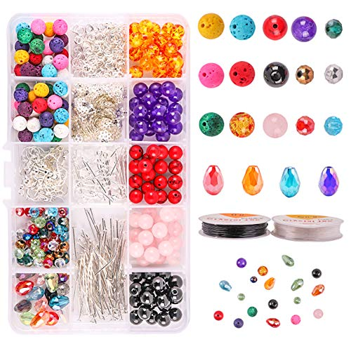 (Dushi Stone Beads Set DIY Jewelry Starter Making Kits Colored Lava Beads with Jump Rings Earring Hooks Eye Pins Jewelry Craft Supplies)