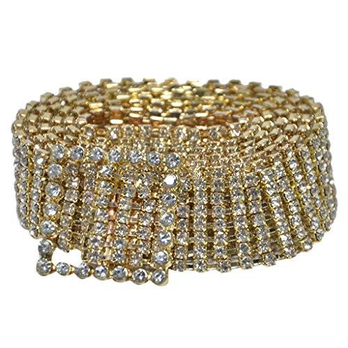 VICCKI Fashion Full Rhinestone Shiny Waistband Women Party Dress Belt Chain Gold