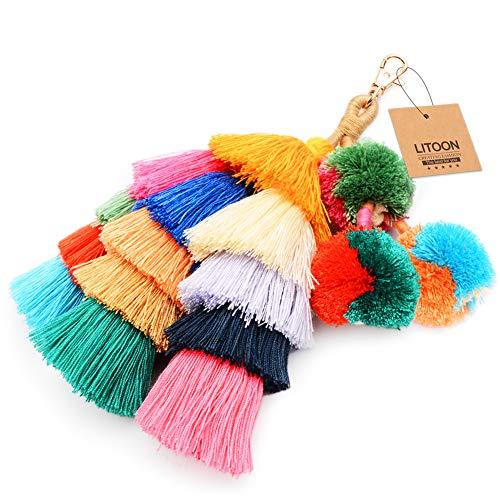 (Tassel Pom Pom Key Chain Colorful Boho Charm Key Ring, Fashion Accessories for Women)