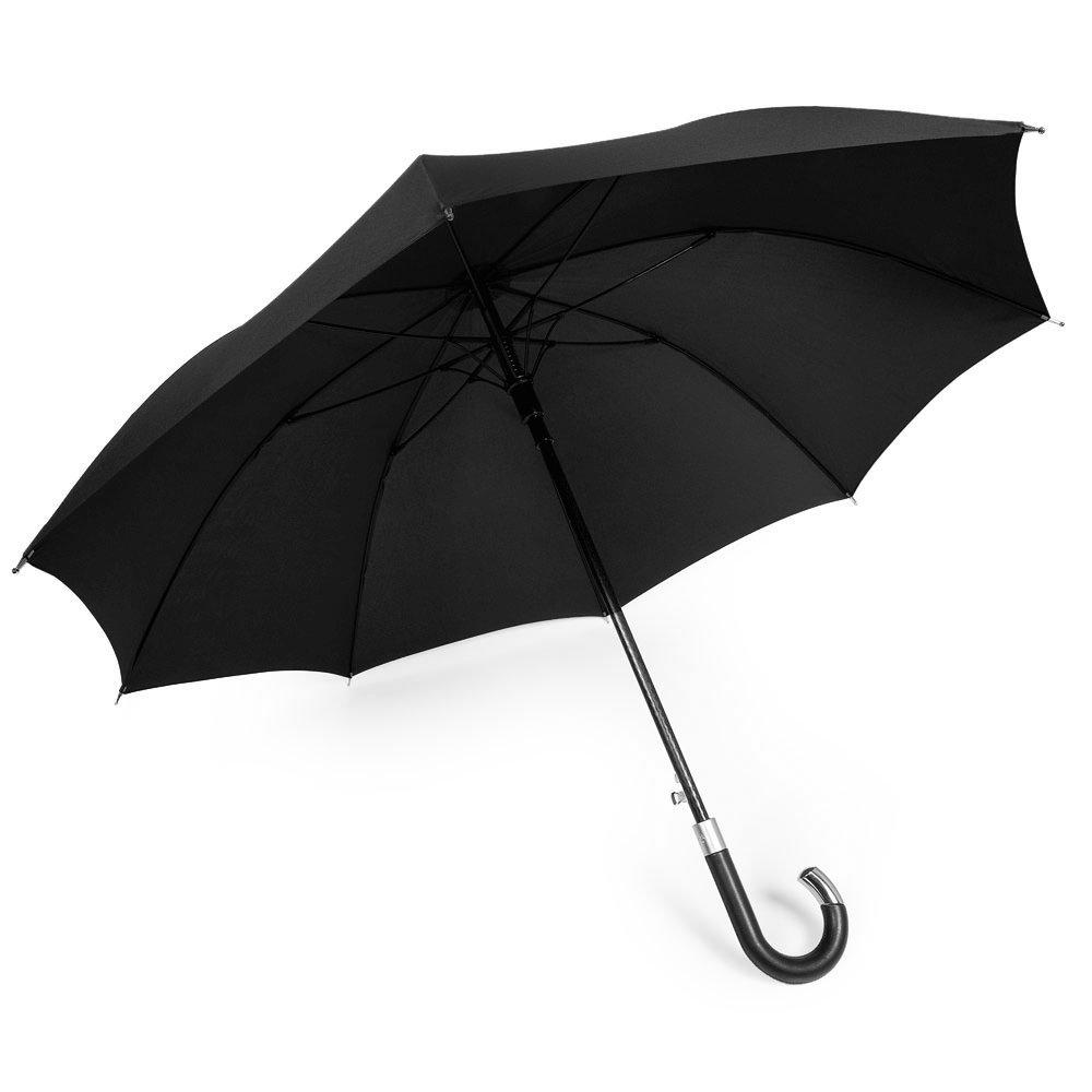 DAVEK ELITE UMBRELLA (Classic Black) - Quality Cane Umbrella with Automatic Open, Strong & Windproof