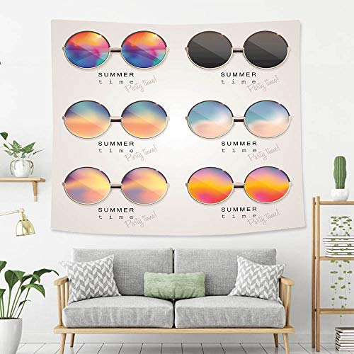 BEIVIVI Creative Custom Tapestry Set of Colorful Sunglasses with Abstract Gradient mesh Glass Mirrors Tapestry, Living Room Bedroom Decoration Tapestry, Mattress, Tablecloth