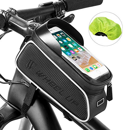 Bicycle handlebar Bag, FishOaky Waterproof Bike Frame Phone Bags, Cycling Top Tube Pannier Sensitive Touch Screen Sun Visor Large Capacity Phone Case Fits for iPhone Xs / 8 plus, Galaxy Note 9/ S9,etc