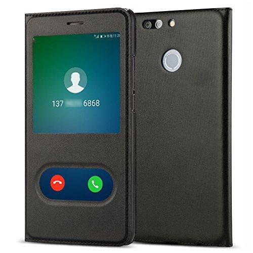 Huawei Nova 2 Plus Case Feicuan Pu Leather Folio Smart Window View Bookstyle Phone Cover For Huawei Nova 2 Plus  Black