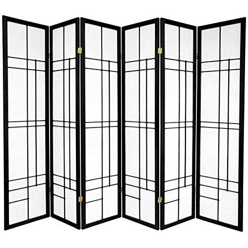 MD Group Room Divider Black 6-Panel Fiber Reinforced Paper Home Office Eudes Shoji Screen Wall