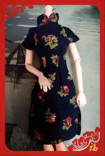 Lanlan 1 PCS Fashion Rose Retro Cheongsam Dress Cheongsam Clothes For Barbie Dolls Clothes Shoes Doll House Accessories Kids (326 Ken)