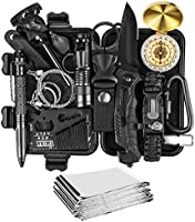 JINAGER Survival kit, Professional Emergency Survival gear 15 in 1, Upgraded Tactical Defense Tool for Hiking Camping...