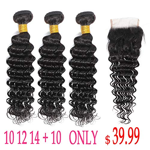 Deep wave Bundles with Closure (10 12 14 with 10 inch) Brazilian Human Hair Bundles with Closure Deep Curly Hair Bundles with 4x4 Lace Closure ()