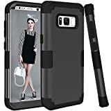 Galaxy S8 Plus Case, KAMII 3in1 [Shockproof] Drop-Protection Hard PC Soft Silicone Combo Hybrid Impact Defender Heavy Duty Full-Body Protective Case Cover for Samsung Galaxy S8 Plus (Black)