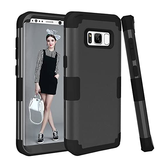 Galaxy S8 Plus Case, KAMII 3in1 [Shockproof] Drop-Protection Hard PC Soft Silicone Combo Hybrid Impact Defender Heavy Duty Full-Body Protective Case Cover for Samsung Galaxy S8 Plus 1 Specifically designed for Samsung Galaxy S8 Plus (6.2inch). [Case ONLY, Screen protector doesn't includes]. Available in multiple color bumper finish styles to show off your unique style and passion for trend. 3 in 1 hybrid high impact combo with hard PC outer shell and soft inner silicone. Full-Body Protective Cover and fit your phone perfectly and keep high touch sensitivity.