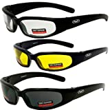 (3) New Size Small Motorcycle Glasses Clear Smoked Yellow Have UV400 Foam Padded Black Frame Great for Dust Storms
