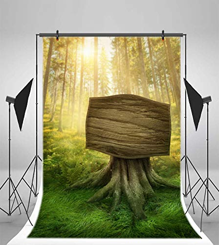 Leyiyi 4x6ft Enchanted Forest Photography Backdrop Spring Woodland Vintage Wood Board Trunk Western Cowboy Rural Countryside Background Nature Grassland Halloween Photo Portrait Vinyl Studio Prop ()