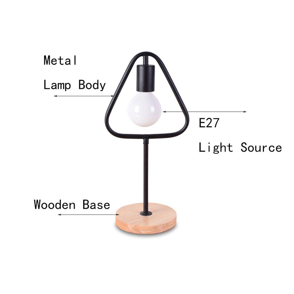 Moderne minimalistische Eisen Tischlampe, Tischlampe, Tischlampe, dreieckige Wohnzimmer Schlafzimmer Leselampe, hölzerne Energiesparlampe, E27 (Farbe   Weiß) 0b0aef