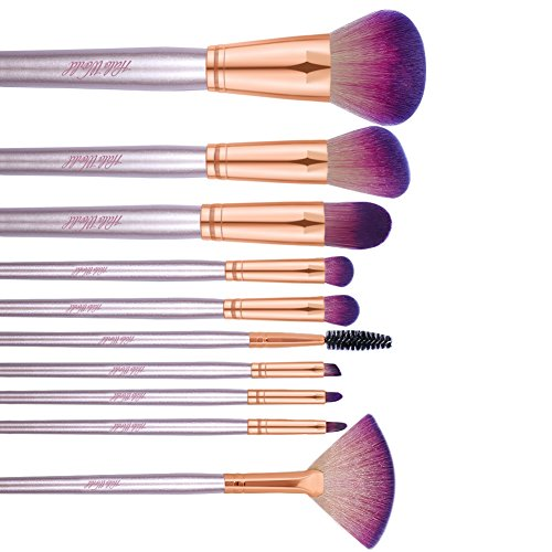 Halo World 10 Pcs Makeup Brush Set Face Eyeshadow Eyeliner Foundation Blush Brushes with Flower Pattern Bag