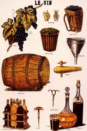 Le Vin Wine Bottle Grapes French Paris Vintage Poster Repro