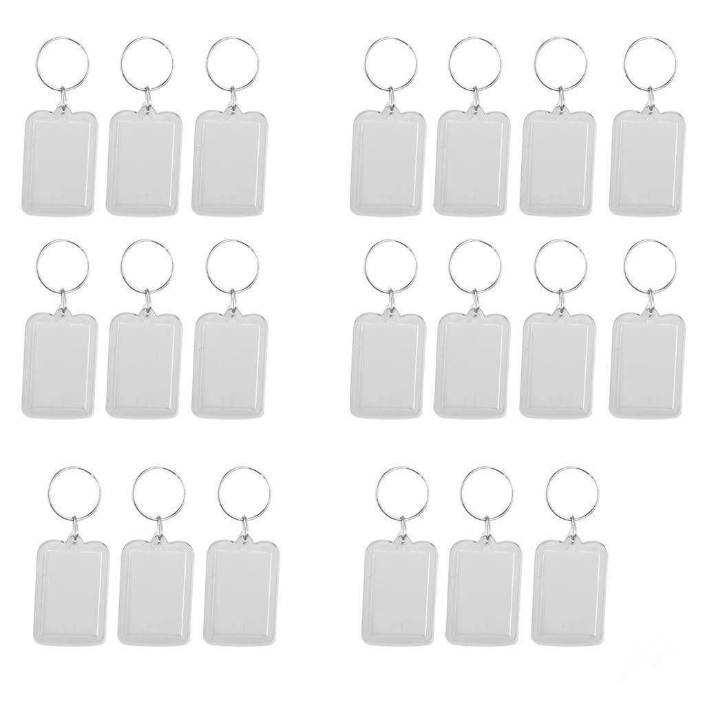 20pcs Rectangle Shaped Clear Acrylic Keyring Keychain Photo Picture Holder Size 38x25mm