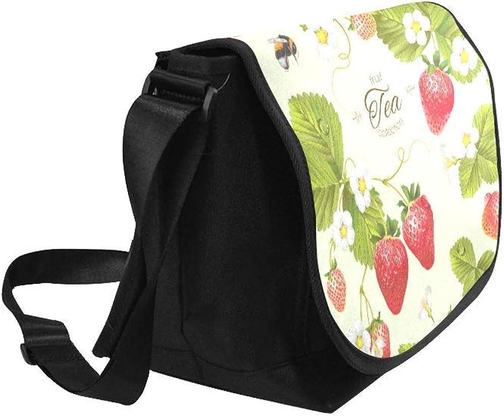 Black InterestPrint Cute Cartoon Fruits Mens Womens Messenger Bag Crossbody Shoulder Bags for School Traveling