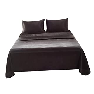 Homyl Bed Sheet Set - Fitted & Flat Sheet & Pillowcase - Twin/Queen/King Size Optional - Super Soft & Hypoallergenic - Black, Queen (4 Piece)