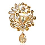 KASOS Brooch Pin - Women's Austrian Crystal Clear Gem Bling Shiny Glitter Sparkle Diamonds Rhinestones Elegant Evening Party Floral Bridal Corsage Brooch Pin Multi Color Pin Brooch (Champagne Flower)