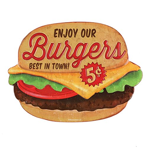- Open Road Brands Burgers Die Cut Embossed Tin Sign