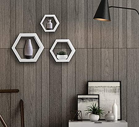 LEMAIJIAJU Etag/ère Murale Lot de 3 Etag/ère Flottantes Suspendues Hexagonales Etag/ère Rangement /Étag/ère Panneau Mural Blanc