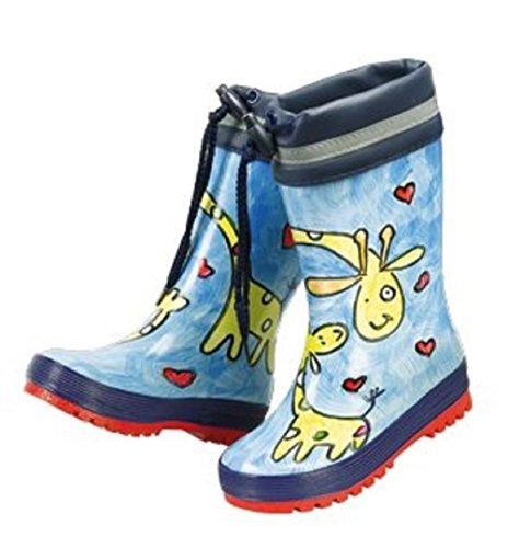 MaxiMo babygummistiefel kindergummistiefel, pour garçon et fille en caoutchouc naturel bleu/bleu marine motif girafe avec manchette peinte à la main, chaque botte unique.