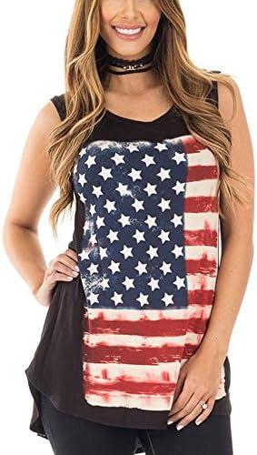 e468d37b022e60 Mojessy Women s Casual Sleeveless Patriotic American Flag Print Shirt  Blouse Comfort Tank Tops